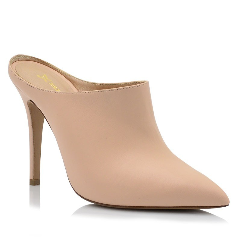 Nude Leather Mules