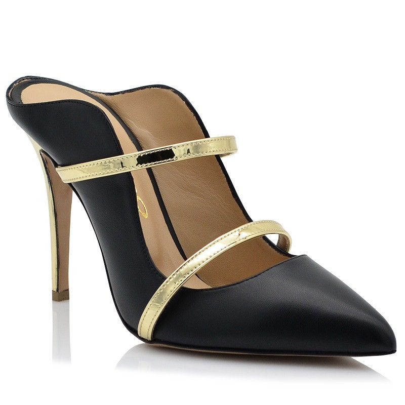 Womens Mules Black Leather