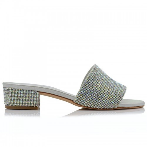 Bridal Mules Leather With Strass