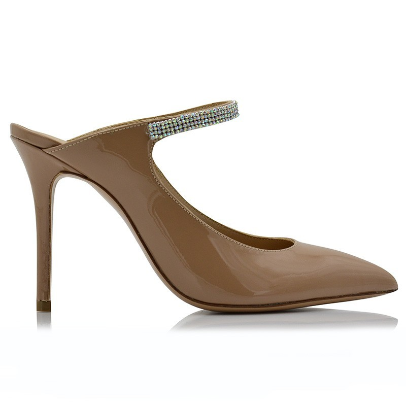 Nude Patent Leather Mules