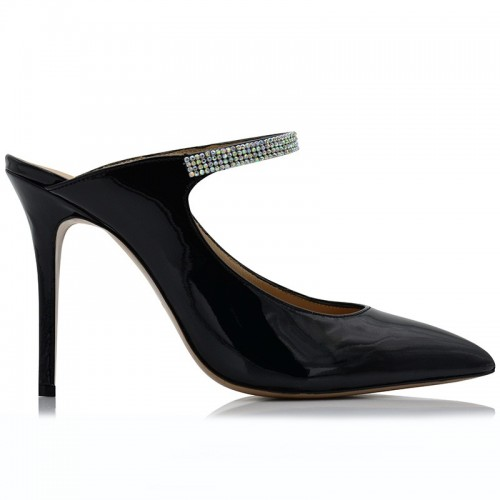 Black Patent Leather Mules