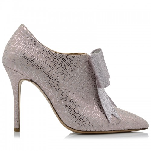 Pink Suede Leather Womens Booties