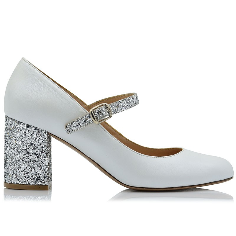 Pumps White Leather Whith Glitter Silver