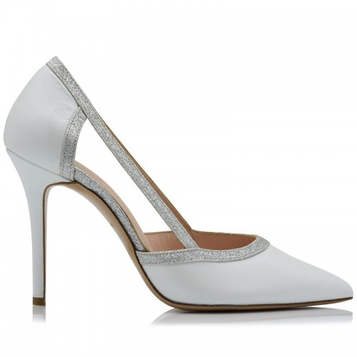 Bridal Pumps White Leather Whith Silver Glitter