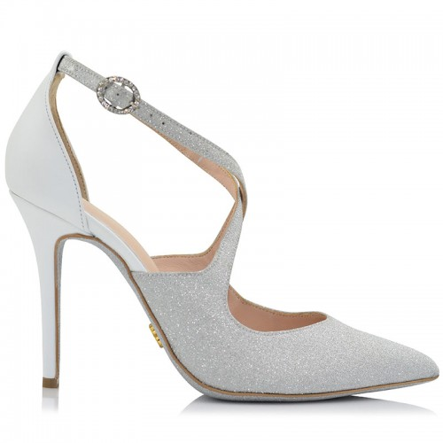 Silver Glitter Bridal Pumps Whith Whirte Leather
