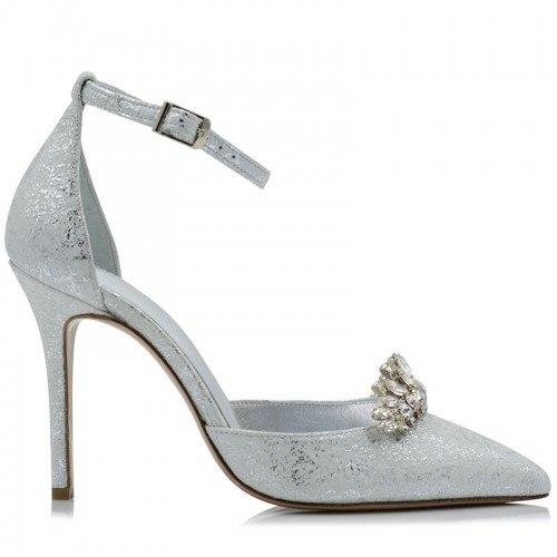 Silver Leather Bridal Pumps