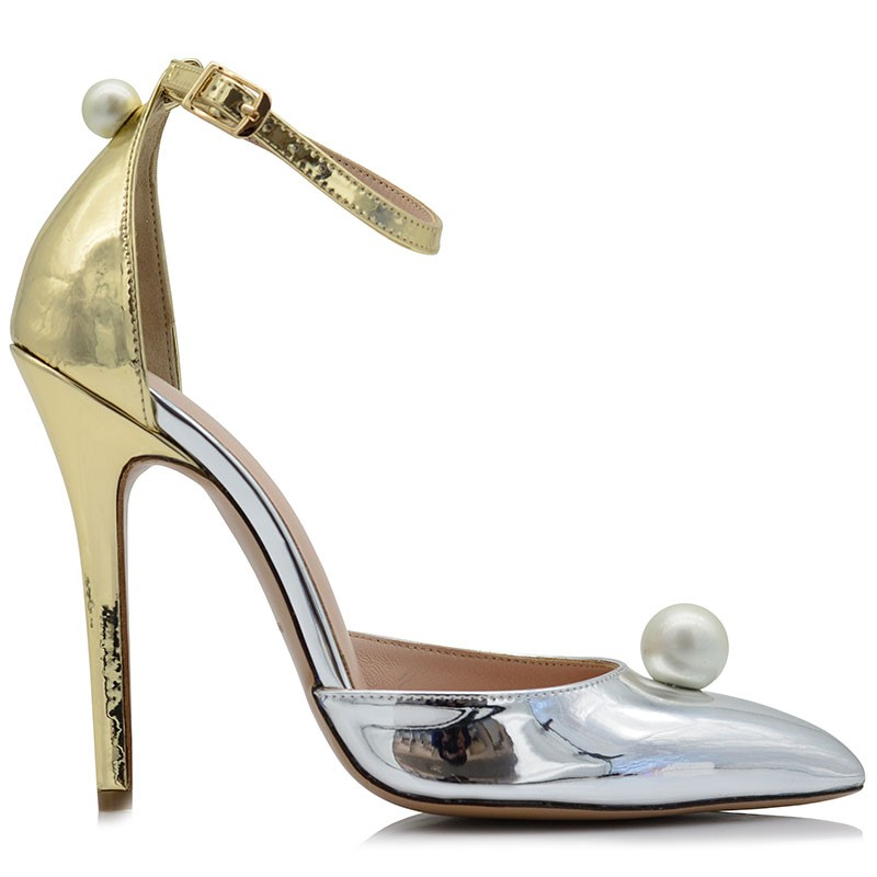 Bridal Pumps Leather Silver-Gold Mirror