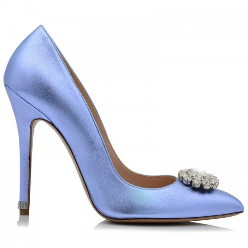 Blue Metallic Leather Pumps