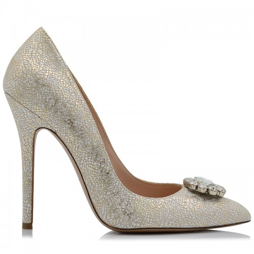 Ivory Snikeskin Leather Bridal Pumps
