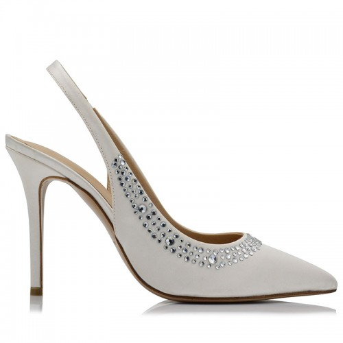 White Satin Bridal Pumps