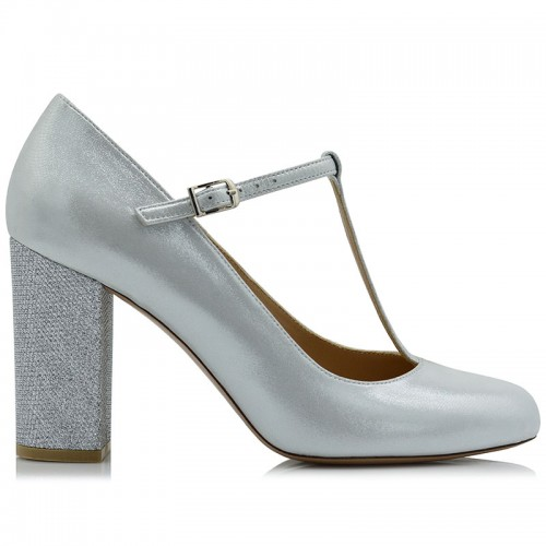 Silver Iridescent Leather...