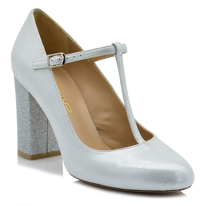 Silver Iridescent Leather Pumps