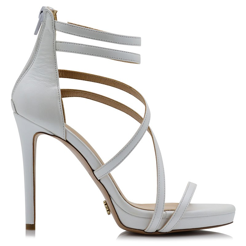 White Leather Bridal Shoes