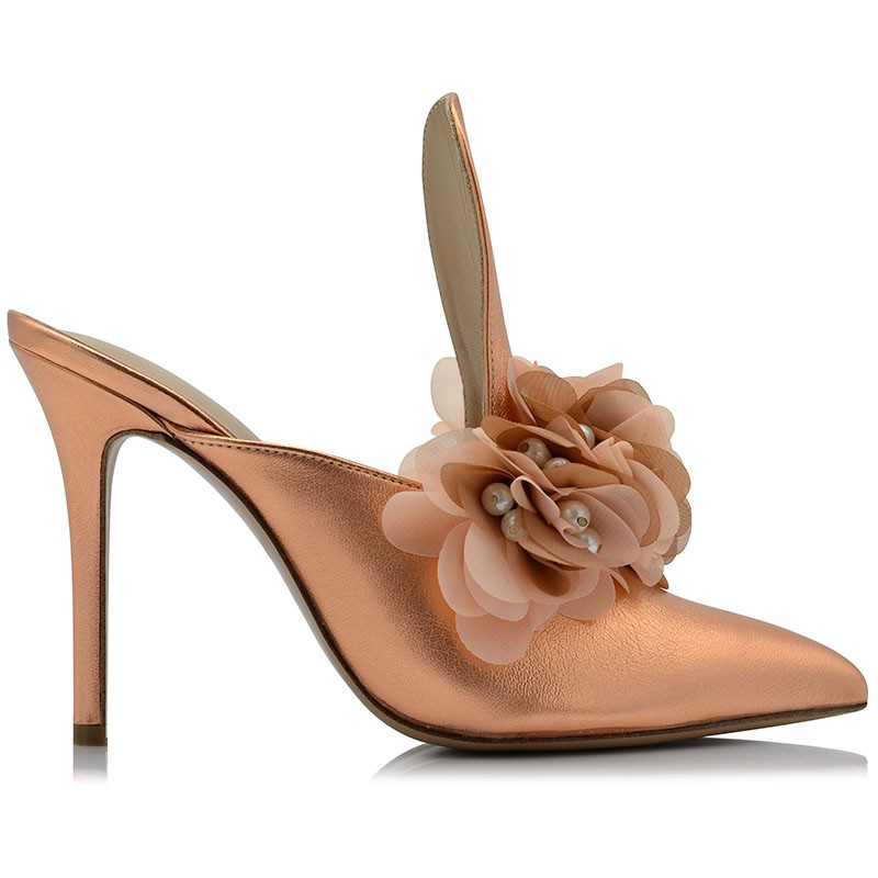 Copper Leather Mules