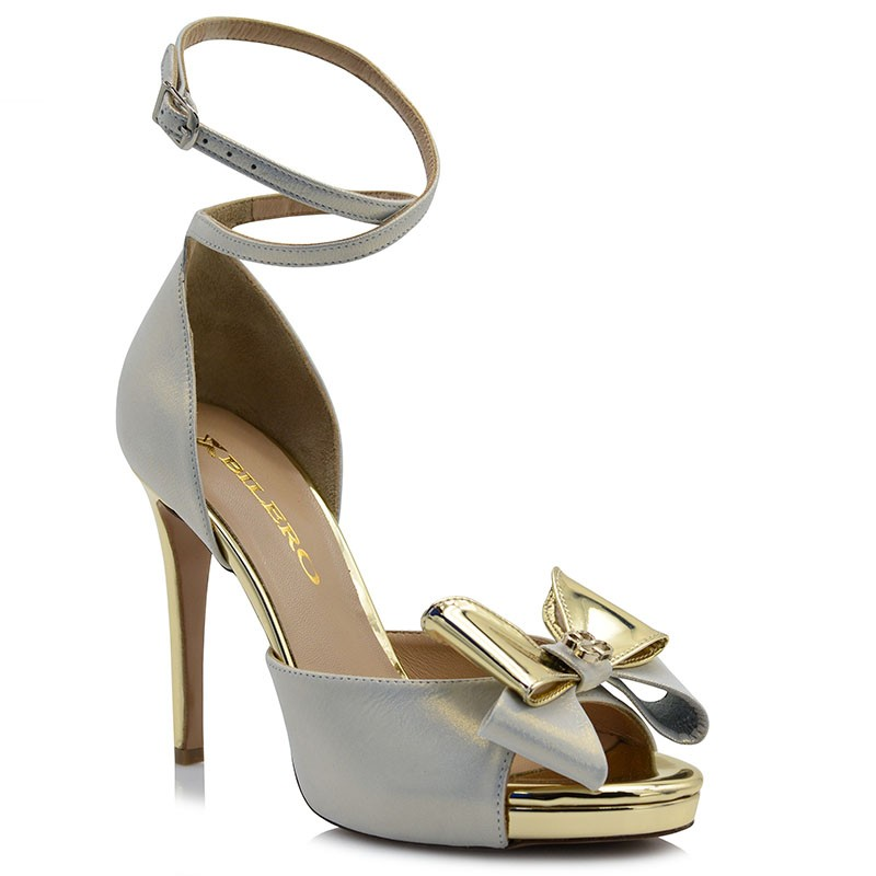 Silver Iridescent Leather Bridal Sandals