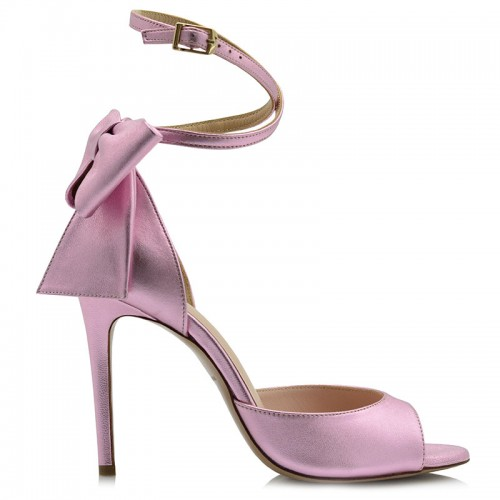 Purple Metallic Leather Sandals
