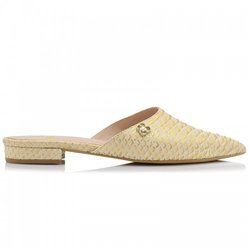Gold Snikeskin Leather Mules