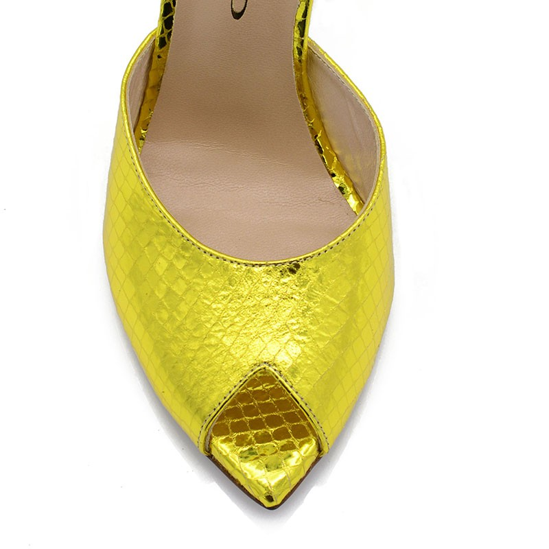Gold Leather Mules
