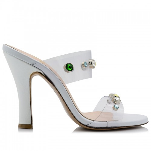 White Leather Mules