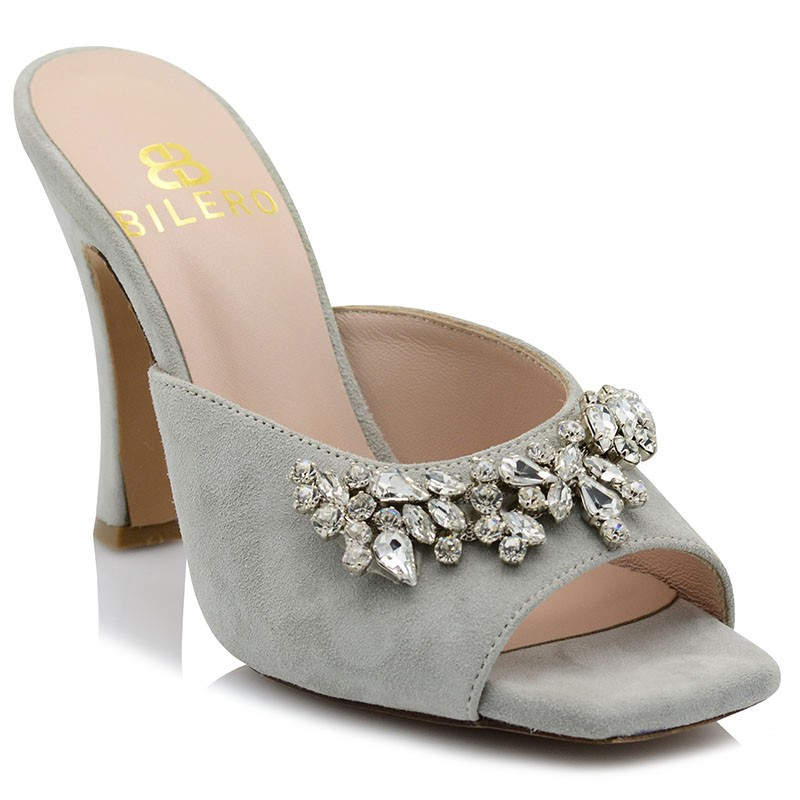 Gray Leather Mules