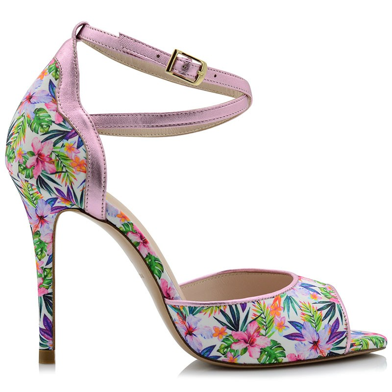 White Floral Leather Sandals