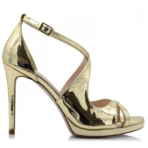 Gold Mirror Leather Sandals