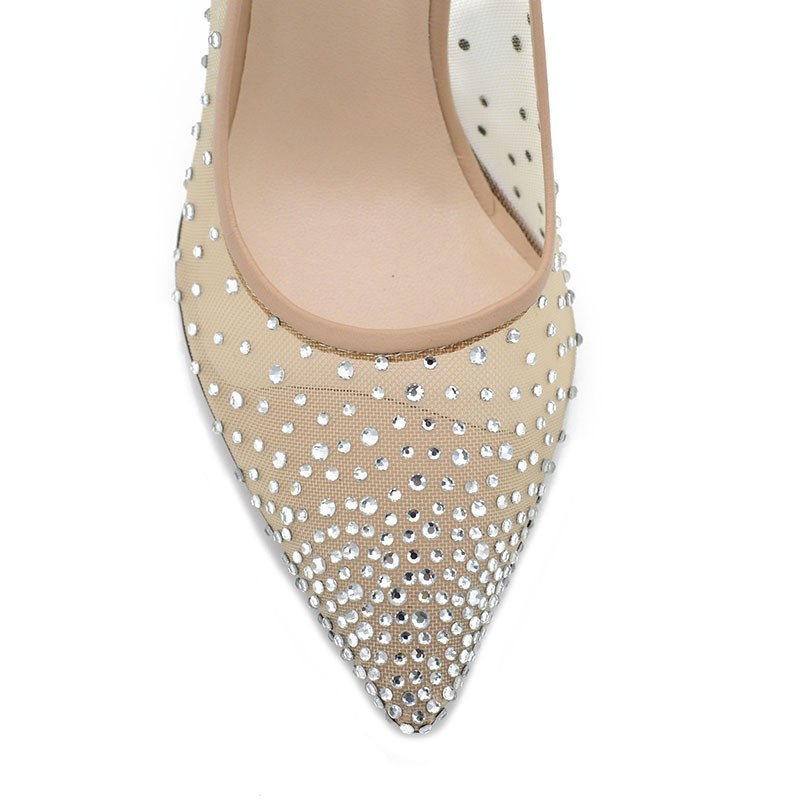 Nude Pumps Strass