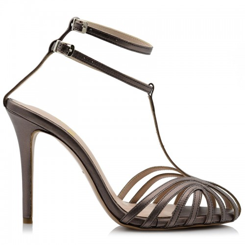 Steel Metallic Leather Sandals