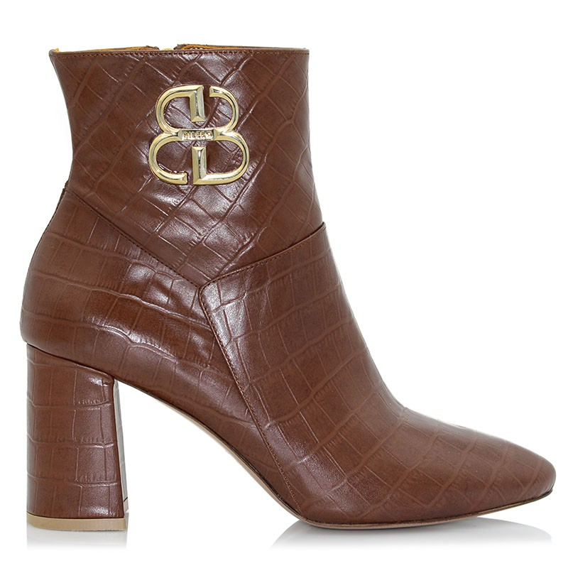 Camel Leather Croco Booties