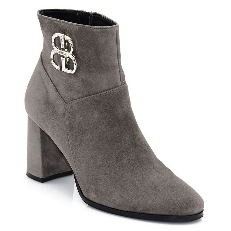 Gray Suede Leather Booties