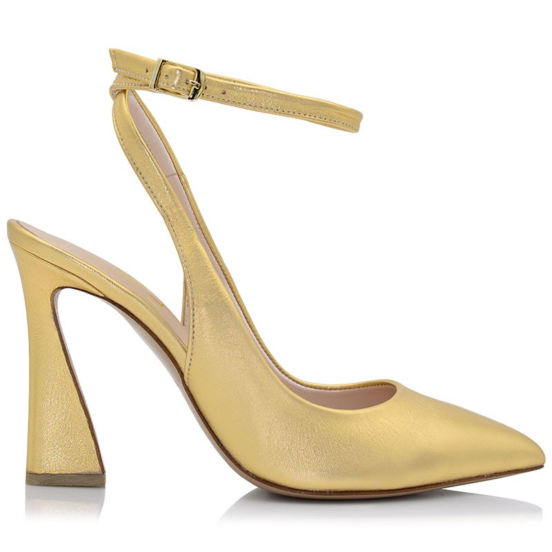Gold Leather Womens Pumps