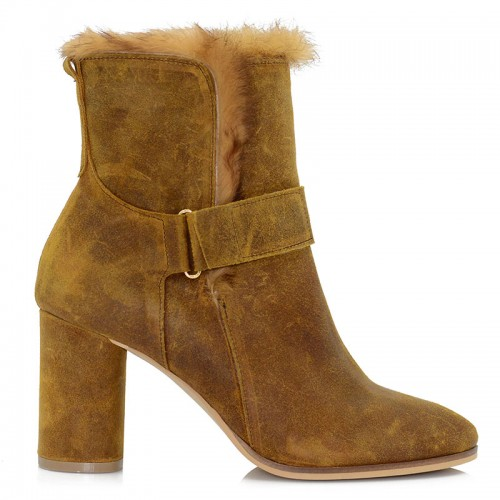 Camel Leather Booties