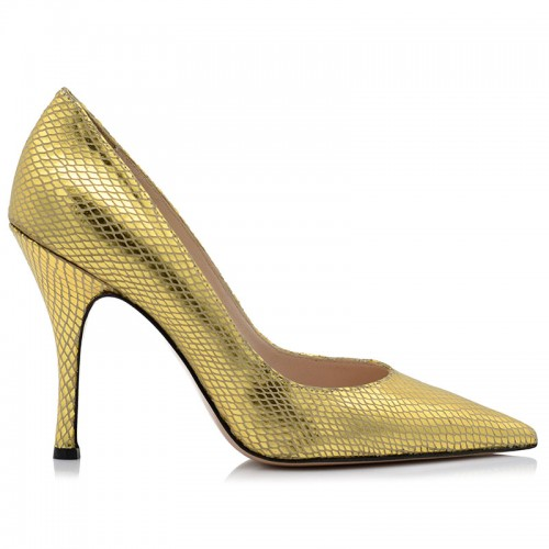 Gold Leather Pumps