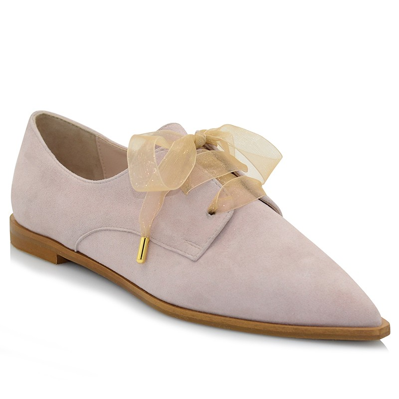 Pink Leather Suede Oxford