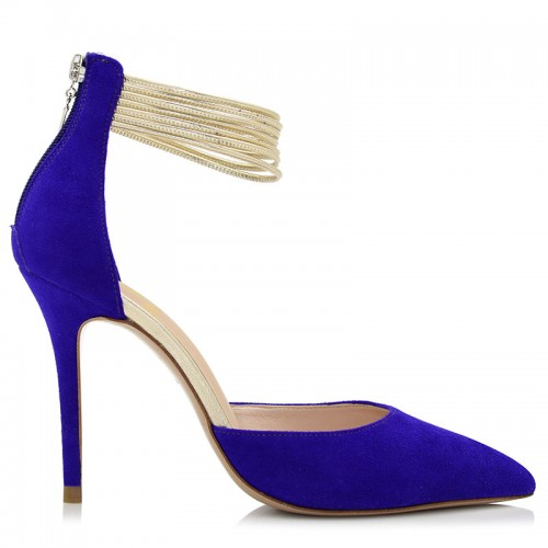 Blue Suede Leather Pumps