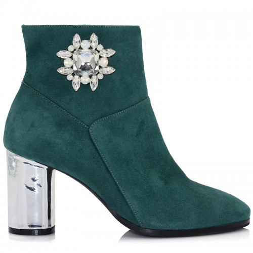 Green Suede Leather Booties