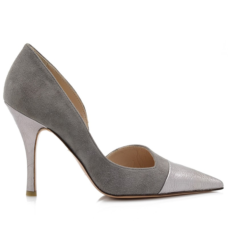 Gray Leather Pumps