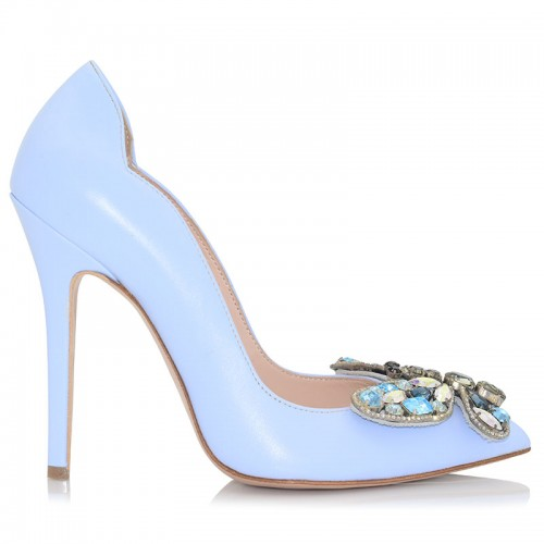 Light Blue Leather Pumps