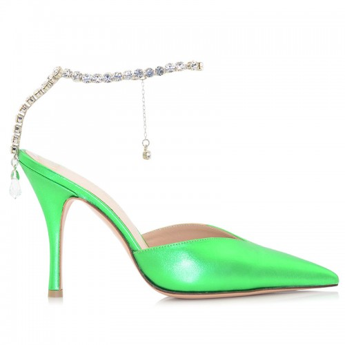 Green Metallic Leather Pumps