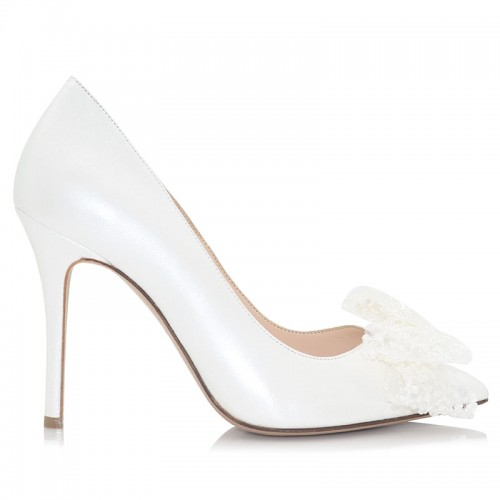 Bridal WhiteLeather Pumps