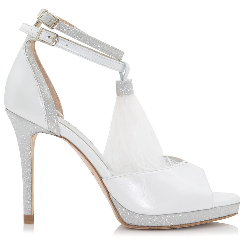 White Leather Bridal Sandals