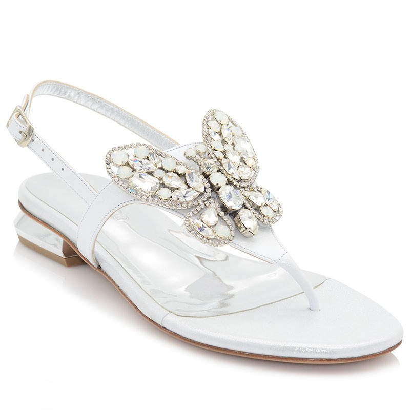 Silver Leather Bridal Sandals