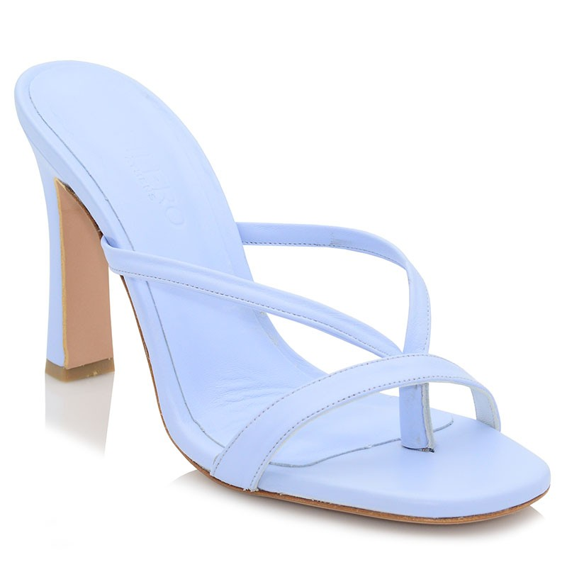 Light Blue Leather Mules