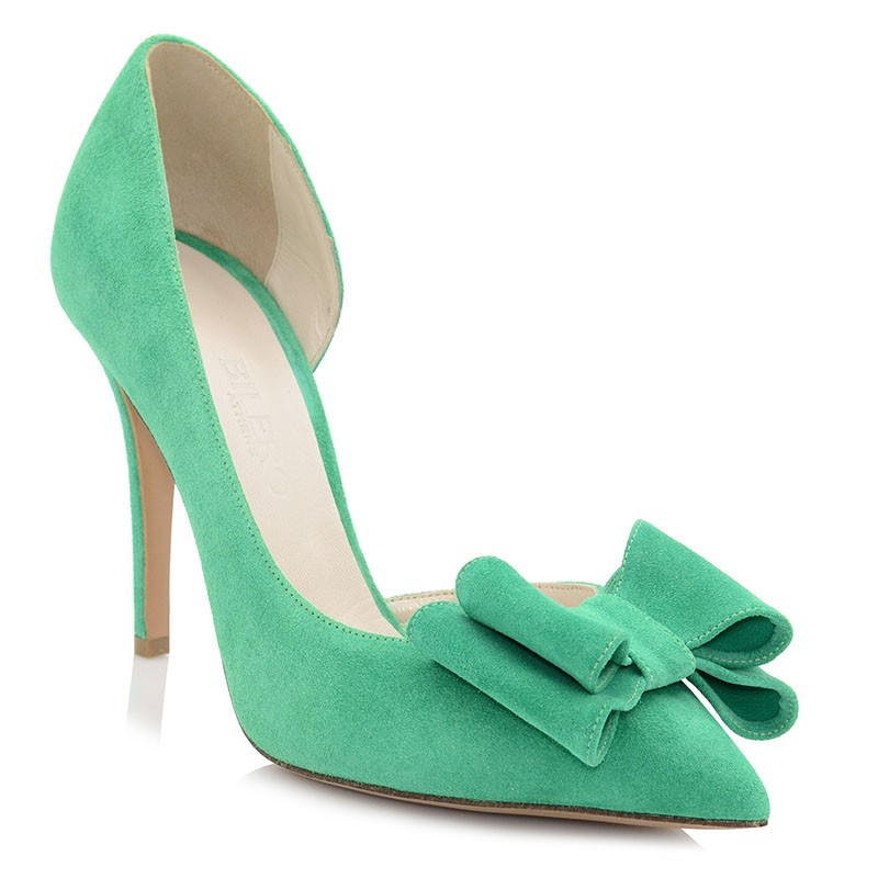 Green Leather Pumps