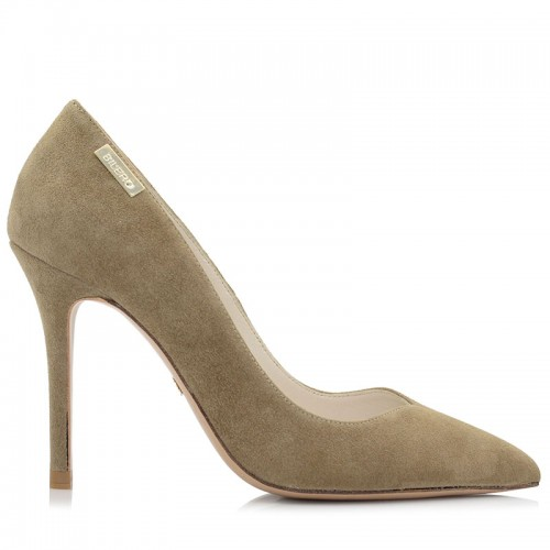 Beige Suede Leather Pumps